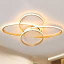 Postmodern Oval Acrylic Ceiling Lamp LED Flush Mount Light Fixture in Gold for Living Room