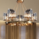 Round Dining Room Hanging Light Traditional Crystal Block 5 Heads Gold Chandelier Light