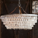 4 Heads Chandelier Traditional Urn Clear Teardrop Crystal Hanging Light Fixture for Living Room
