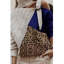 Chic Street Women's Long Sleeve Turtleneck Cut Out Buckle Strap Leopard Patched Contrasted Cable Knit Boxy Pullover Sweater Top