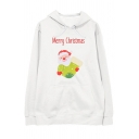 Hip Hop Street Long Sleeve Drawstring MERRY CHRISTMAS Letter Santa Claus Printed Oversize Hoodie for Women