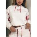 Cute Embroidery Letter GIA Print Striped Long Sleeve Loose Hoodie with Drawstring Waist Pants