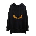 Black Hip Hop Long Sleeve Drawstring Devil Printed Sequined Oversize Hoodie for Female