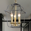 Wire Frame Hanging Light Fixture Industrial Style Metal 3/4 Lights Gold Finish Chandelier Lamp for Dining Room