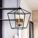 Tapered Shade Metal Chandelier Light Fixture Vintage Style 4 Heads Black Ceiling Lamp with Wire Frame