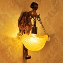 Farmhouse Style Bowl Wall Lighting Amber Glass 1 Head Bedroom Wall Mounted Lamp in Weathered Copper