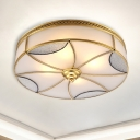 4/6 Lights Flush Ceiling Light Classic Drum Curved Frosted Glass Panel Flush Mount Lighting in Gold for Living Room, 18
