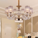 Conical Chandelier Lighting Fixture Contemporary Crystal 6 Lights Living Room Ceiling Lamp in Rose Gold