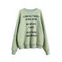 Street Leisure Long Sleeve Round Neck Letter Print Plus Size Fluff Liner Pullover Sweatshirt for Women