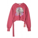 Stylish Letter APANAGE Zebra Pattern Rose Red Cropped Pullover Sweatshirt