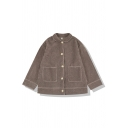 Trendy Women's Long Sleeve Lapel Collar Button Down Pockets Side Contrast Piped Plain Sherpa Boxy Jacket