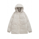 Girls' Fashion Warm Long Sleeve Hooded Zipper Front Utility Baggy White Puffer Jacket