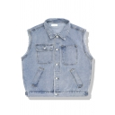 Cool Girls' Sleeveless Lapel Collar Button Down Utility Pockets Oversize Denim Vest in Light Blue