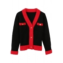 Fancy Trendy Long Sleeve Deep V-Neck Button Down Pockets Contrasted Sherpa Patched Knit Fitted Cardigan for Ladies
