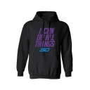 Mens Stylish Letter I CAN DO ALL THINGS Long Sleeve Relaxed Hoodie with Pocket