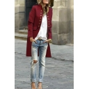 Vintage Women's Long Sleeve Stand Collar Double Metal Button Flap Pockets Plain Loose Midi Coat