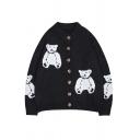 Women Cute Basic Long Sleeve Crew Neck Button Front Bear Pattern Baggy Knit Cardigan in Black