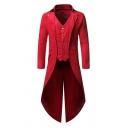 Gorgeous Plain Long Sleeve Button Front Longline Swallowtail Mens Steampunk Retro Coat