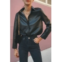 Cool Black Long Sleeve Lapel Collar Button Down  Slit Side Loose Fit Leather Jacket for Girls
