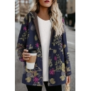 Female Winter Thick Long Sleeve Hooded Zip Front Floral Printed Shearling Liner Boxy Coat