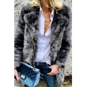 Plain Trendy Long Sleeve Notch Collar Mink Faux Fur Loose Fit Open Front Coat for Female