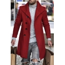 Street Fashion Red Long Sleeve Lapel Collar Button Front Longline Woven Overcoat