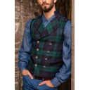 Classic Checked Pattern Lapel Collar Double Breasted Slim Fit Casual Waistcoat