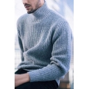 Mens Simple Casual High Collar Long Sleeve Oversized Knitwear Pullover Sweater
