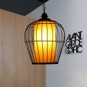 Single Iron Hanging Pendant Simplicity Black Bird Cage Suspended Lighting Fixture