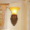 Amber Glass Bell Wall Sconce Vintage 16