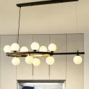 Globe Over Island Lighting Nordic White Glass 11 Heads Black Hanging Lamp Kit for Dining Room