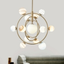 Orbit Hanging Ceiling Light Postmodern Metal 13 Heads Gold Chandelier Lamp with Globe Glass Shade