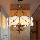 4/6 Lights Chandelier Pendant Light Colonial Scalloped White Glass Suspension Lamp for Dining Room