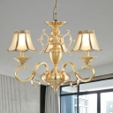 Gold 3/5 Heads Ceiling Chandelier Colonial Opal Frosted Glass Wide Flare Suspended Lighting Fixture