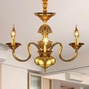 3/5/6 Bulbs Starburst Ceiling Chandelier Colonial Metal Hanging Pendant Light in Brass