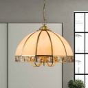 Dome Restaurant Down Lighting Pendant Colonial Opal Blown Glass 1 Head Beige Hanging Ceiling Light