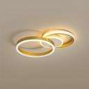 Ring Acrylic Ceiling Light Postmodern Gold LED Flush Mount Lighting in Warm/White Light