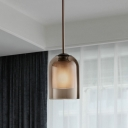 Urn Bedroom Ceiling Pendant Traditionalism Amber/White Glass 1 Head Hanging Light Fixture