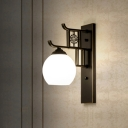 Black 1 Light Wall Lamp Traditional Metal Dome Wall Mount Light with Opal Frosted Glass Shade