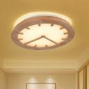 Simple Clock Shaped Wood Flush Mount Lighting LED Flush Ceiling Light Fixture in Beige