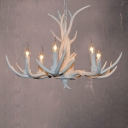 Resin White Chandelier Candle 3/4/6 Lights Rural Down Lighting Pendant for Dining Room