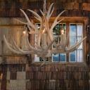 Rustic Candelabra Hanging Pendant 4/6/8 Heads Resin Chandelier Lighting Fixture in White
