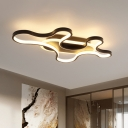 Curved Acrylic Flush Light Fixture Contemporary Black LED Ceiling Lighting in Warm/White Light