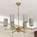 6 Lights Living Room Chandelier Pendant Light Modern Style White/Grey Ceiling Lamp with Cylinder Fabric Shade