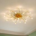 Flower Semi Flush Light Modern Crystal 17/21 Bulbs Close to Ceiling Lighting in Gold for Bedroom