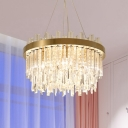 Crystal 2-Tier Ceiling Chandelier Modernist 6 Bulbs Gold Hanging Pendant Light for Dining Room