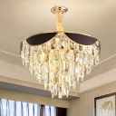 Contemporary Conical Pendant Chandelier Crystal 6 Heads Ceiling Hanging Light in Black