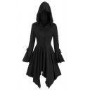 Gothic Girls' Ruffle Trim Sleeve Hooded Button Down Lace Up Asymmetric Pleated Plain Fitted Dress Trench Coat