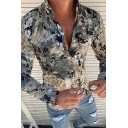 Mens Creative Geometric Fish Scales Print Long Sleeve Button Up Gray Fitted Shirt