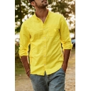 Street Fashion Whole Colored Long Sleeve Single Breasted Relaxed Fit Linen Shirt